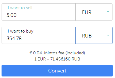 Mintos exchange of Euro to Rubles